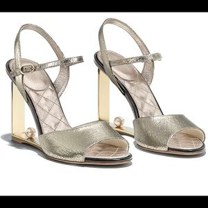 CHANEL Metallic Gold Leather CC Pearl Heel Sandals